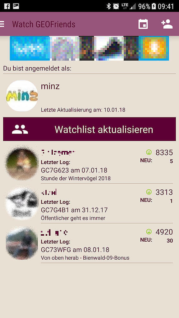 APP Watch Geocaching Friends